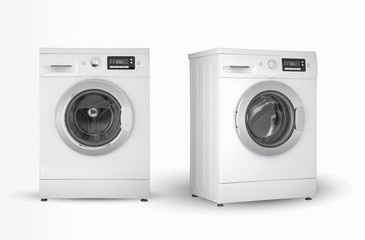 washing machine two positions on a white background
