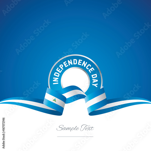 nicaragua independence day ribbon logo icon stock image and royalty