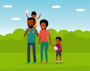 Family leisure. African family in the amusement Park. Family walks in the Park, children eating cotton candy. African American people. illustration in a flat cartoon style