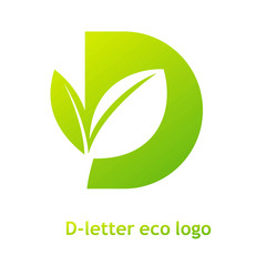 D letter eco logo isolated on white background. Organic bio logo with a leaf of sprout grass for corporate style of company or brand on letter D.