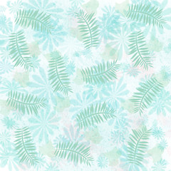 soft teal flowers and pale mint palm illustration