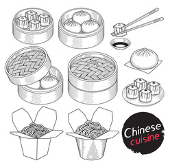 Chinese cuisine food doodle elements hand drawn style. Vector Illustrations.