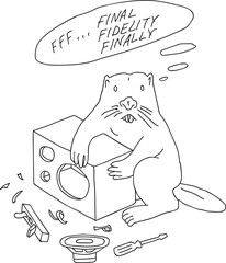 Doodle hand drawn cartoon style beaver with disassembled hi-fi loudspeakers, repairing, tuning, instruments