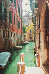 Keuken foto achterwand Venetie Venice, Italy. Boats on the canal on a sunny day.