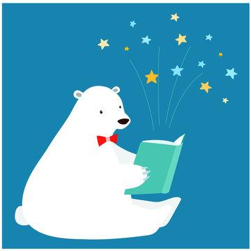Cute polar bear reading a book vector.