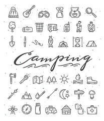 Camping hand drawn icons. Camping and picnic doodle illustrations