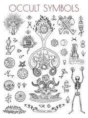 Graphic set with esoteric symbols and illustrations