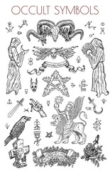 Graphic set with occult symbols and illustrations