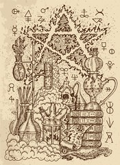 Mystic drawing with alchemical symbols, skull, fire pentagram and laboratory equipment on texture background