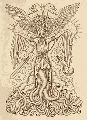 Mystic drawing with evil goddess or female demon with tentacles, skull and mystic spiritual symbols on texture background