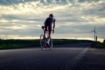 Poster Cycling Rennradfahrer von hinten