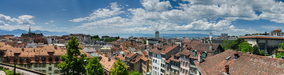 Large panoramic aerial view of Lausanne city, Switzerland