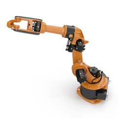 Robot arm for industry isolated on white. 3D Illustration, clipping path