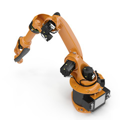Industrial Robotic Arm isolated on white. 3D illustration, clipping path