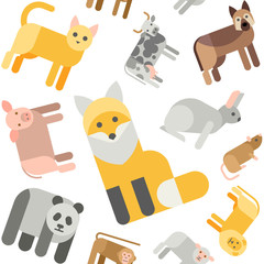 Animals seamless pattern.