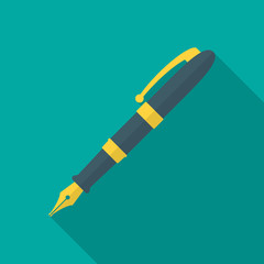 Pen icon with long shadow. Flat design style. Fountain pen simple silhouette. Modern, minimalist icon in stylish colors. Web site page and mobile app design vector element.