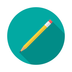 Pencil circle icon with long shadow. Flat design style. Pencil simple silhouette. Modern, minimalist, round icon in stylish colors. Web site page and mobile app design vector element.