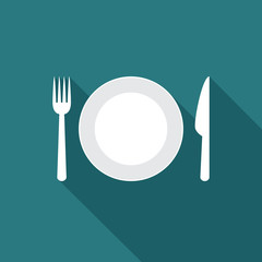 Plate icon with long shadow. Flat design style. Plate simple silhouette. Modern, minimalist icon in stylish colors. Web site page and mobile app design vector element.