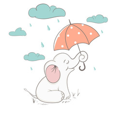 Cute elephant holds an umbrella