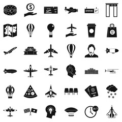 Airport icons set, simple style