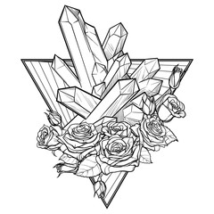 Alchemic Element of Earth sign. Down pointing triangle with rose garland and spiky Crystals. Concept design for the tattoo, colouring book or postcard. EPS10 .