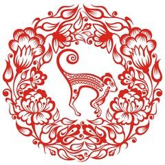 Red paper cut monkey zodiac symbol