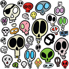 Collection of Cartoon Design Skull Head Illustrations