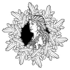 Alchemy element of Earth. Zodiac sign Virgo. Beautiful woman in a diadem in a circular frame of quartz crystals. Vintage art nouveau style concept art for horoscope, tattoo or colouring book