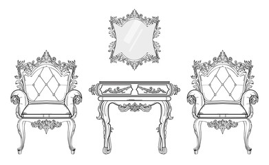 Baroque furniture rich set collection. Ornamented background Vector illustration