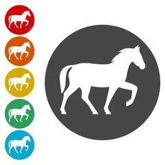Horse icons set - vector Illustration