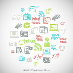 Multicolor doodles Hand Drawn News Icons set on White. EPS10 vector illustration.