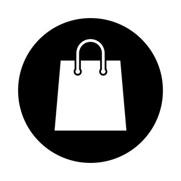 Shopping bag circle icon. Black, round, minimalist icon isolated on white background. Paper bag simple silhouette. Web site page and mobile app design vector element.