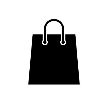 Shopping bag icon. Black, minimalist icon isolated on white background. Paper bag simple silhouette. Web site page and mobile app design vector element.