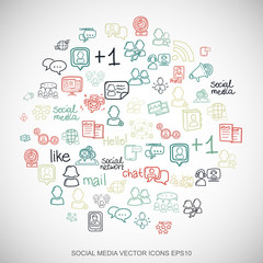 Multicolor doodles Hand Drawn Social Network Icons set on White. EPS10 vector illustration.