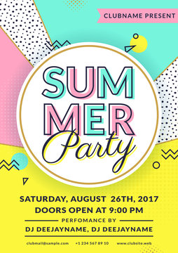 Summer party invitation. Vector flyer template.