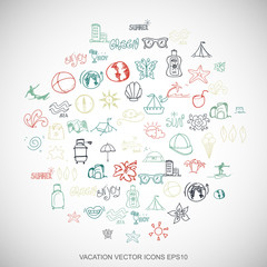 Multicolor doodles Hand Drawn Vacation Icons set on White. EPS10 vector illustration.