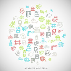 Multicolor doodles Hand Drawn Law Icons set on White. EPS10 vector illustration.