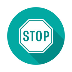 Stop sign circle icon with long shadow. Flat design style. Stop sign drive simple silhouette. Modern, minimalist, round icon in stylish colors. Web site page and mobile app design vector element.