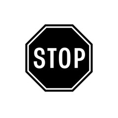 Stop sign icon. Black, minimalist icon isolated on white background. Stop sign simple silhouette. Web site page and mobile app design vector element.