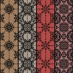 Ethnic seamless pattern. American indian style. Tribal navajo background. Textile geo print. Abstract geometric flowers. Pixel art design.