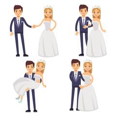 Cartoon wedding couple. Just married vector characters