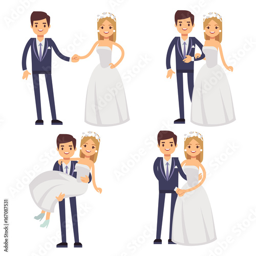 Cartoon wedding couple  Just married vector characters
