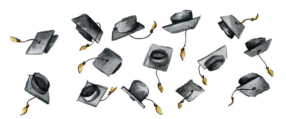 watercolor sketch of throwing graduation hats isolated on white background