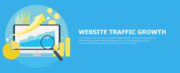 Website traffic growth banner.  Computer with diagrams, growth charts. Magnifying glass
