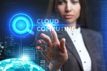 The concept of business, technology, the Internet and the network. A young entrepreneur working on a virtual screen of the future and sees the inscription: Cloud computing