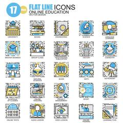 Thin line education, online training icons set