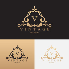 Vintage brand logo design. Vector symbol with floral ornament. Logotype for uses in fashion spheres, hotel and restaurant business and jewelry industry.