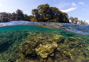 Double landscape with sea and sky. Seascape split photo. Tropical island lagoon.