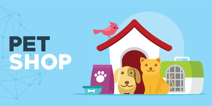 pet shop with cats and dogs house illustration