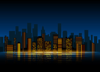 Night city background. Urban town streets skyline. Cityscape vector silhouettes